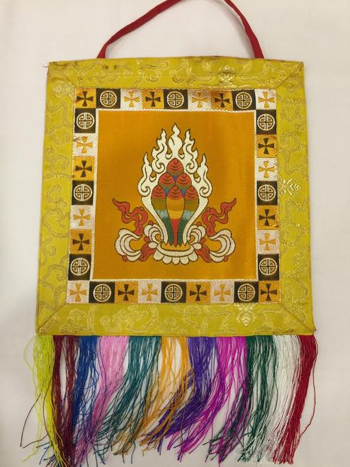 Tibetan buddhist yellow Norbu / precious jewel wall hanging / banner ...