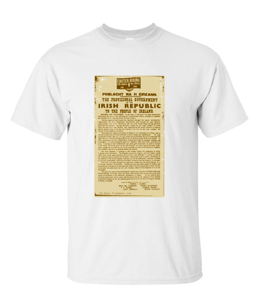 PROCLAMATION OF THE IRISH REPUBLIC T SHIRT WHITE