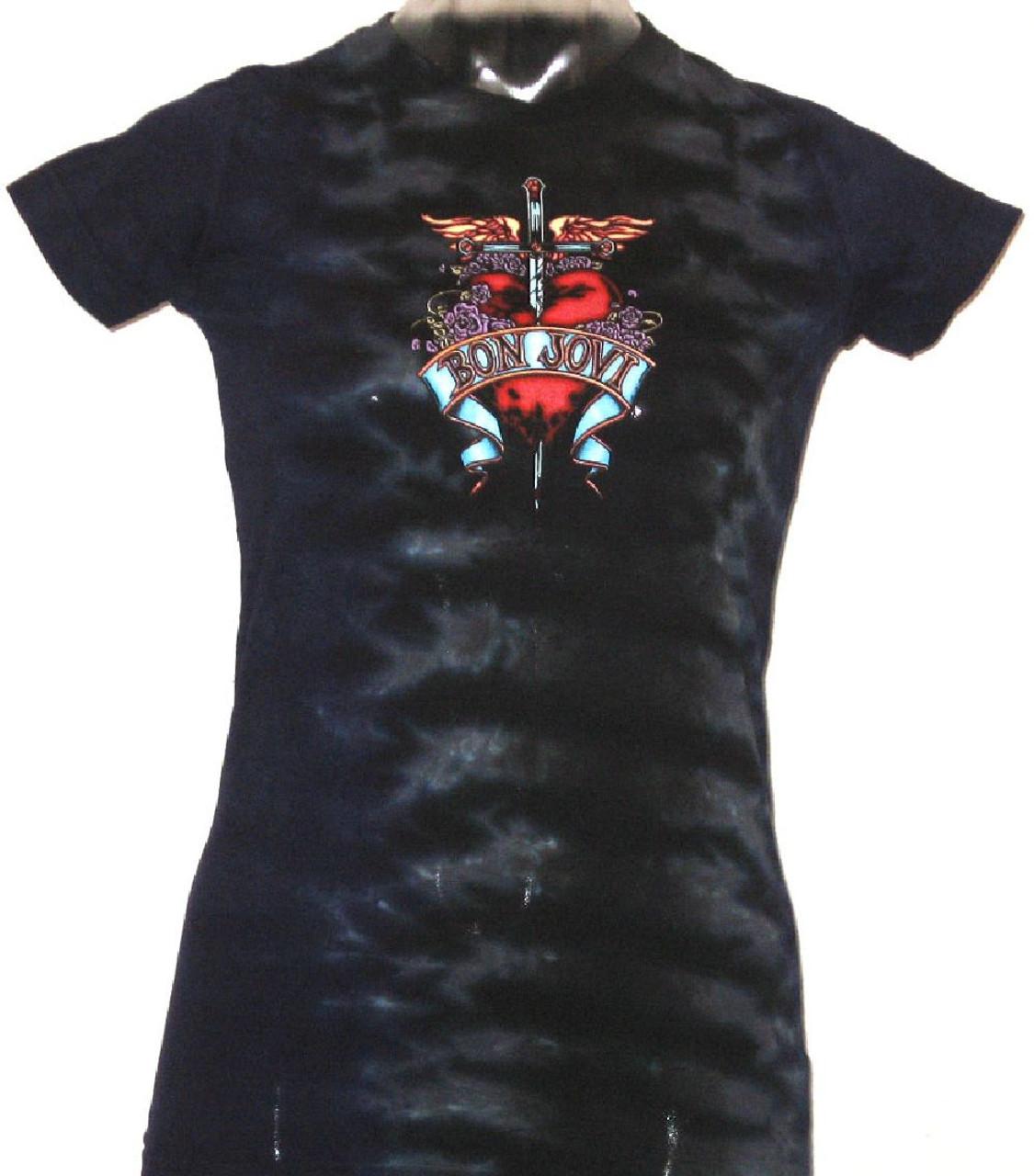 bon jovi tshirt heart and dagger logo womens tie dye