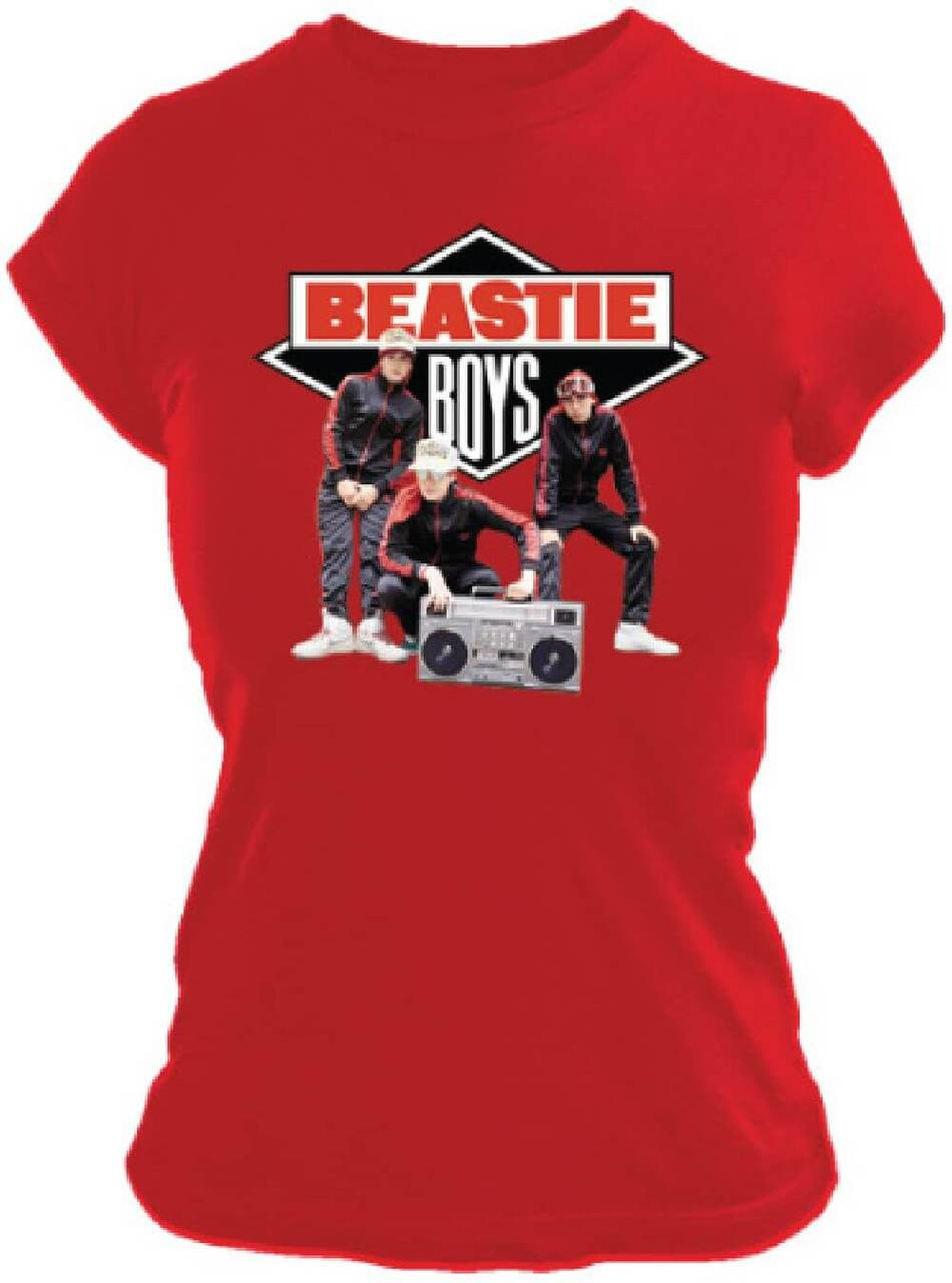 Beastie Boys Logo With Band Members Photo Women S Red T Shirt