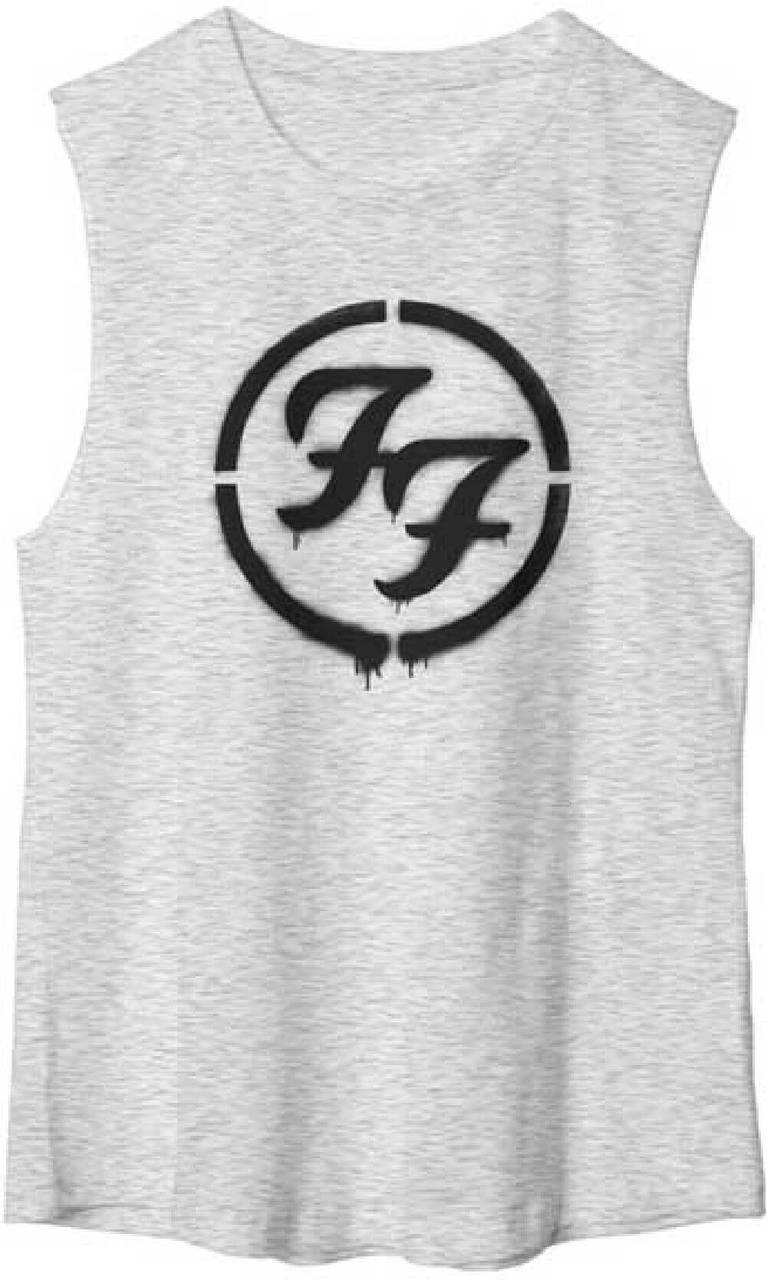 Foo Fighters Ff Logo Womens Gray Sleeveless Muscle T Shirt