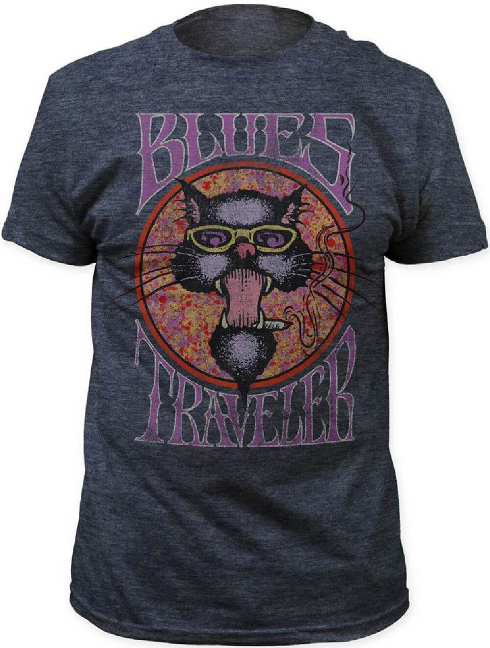Blues traveler cat logo men 39 s gray vintage t shirt for Old logo t shirts