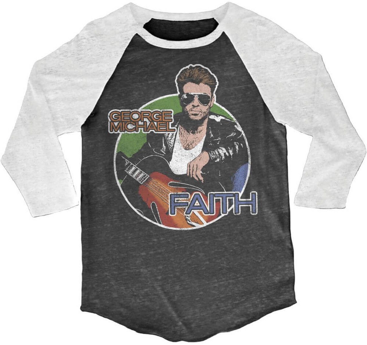 George Michael Vintage Baseball Jersey - Faith Music Video Drawing | Black  & White Raglan