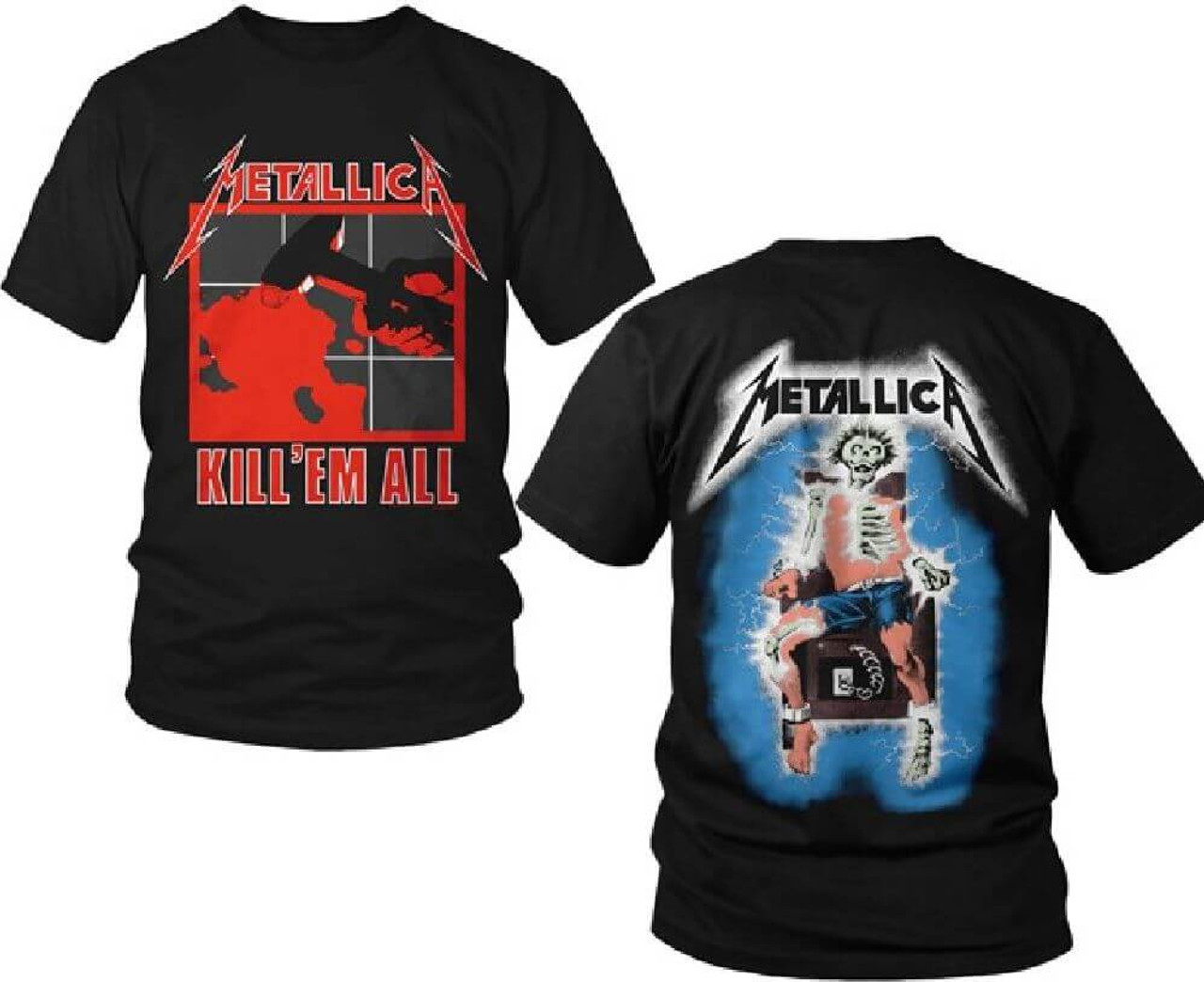 Metallica Kill Em All Album Cover With Electrocuted Skeleton T Shirt