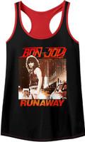 Bon Jovi Runaway Song Single Album Cover Artwork Women's Black and Red Tank Top T-shirt