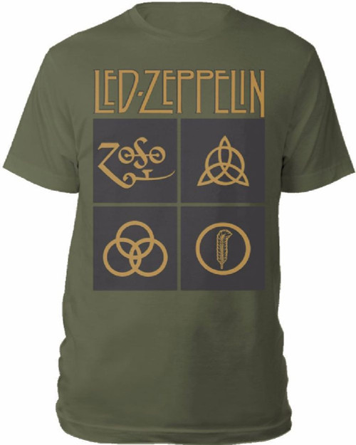 Led Zeppelin T-shirt - Led Zeppelin IV Symbols Inner Sleeve Art | Men's Olive Shirt