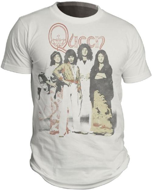 Queen T-shirt - Band Photograph | Men's White Vintage Shirt