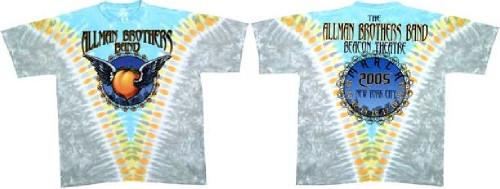 Allman Brothers Band Concert T-shirt - Beacon Theatre 2005. Men's Tie-Dye Shirt