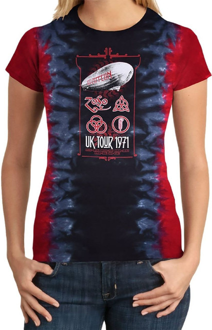 Led Zeppelin Women's Concert T-shirt - UK United Kingdom Tour 1971 | Red, Black, Blue Tie-Dye Shirt