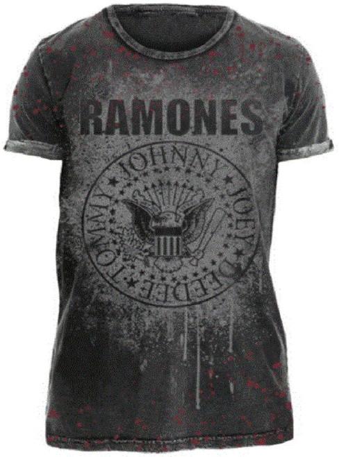 Ramones Presidential Seal Logo Men's Gray vintage T-shirt