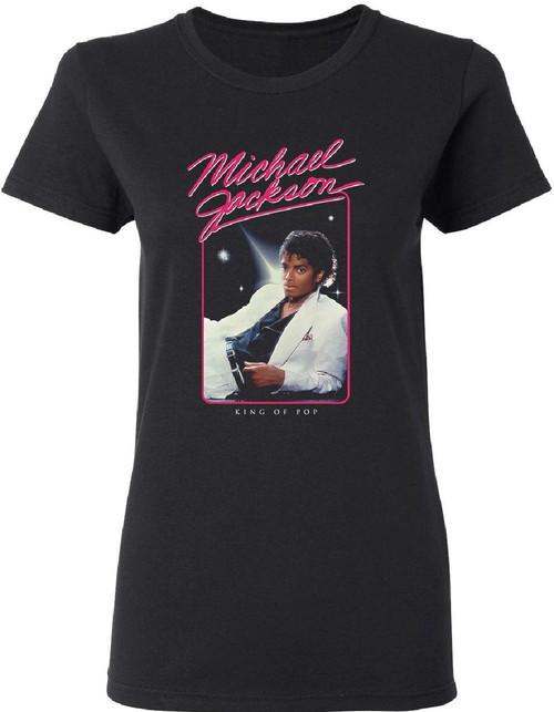 Michael Jackson Thriller Album Cover Artwork King of Pop Women's Black T-shirt