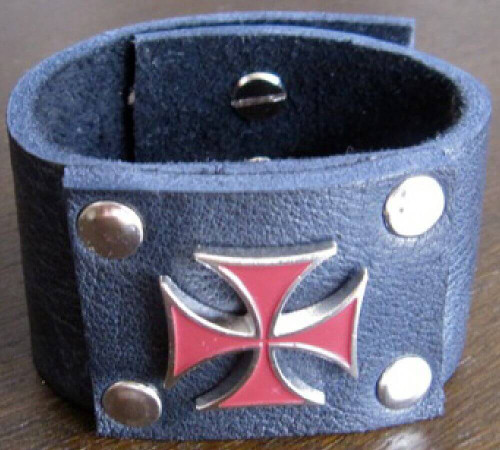 Leather Cuff - Black Leather Bracelet with Red Metal Iron Cross