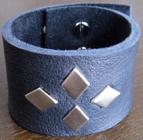 Rocker Rags Leather Cuff - Rocker Rags Black Leather Bracelet with Metal Diamond Studs.