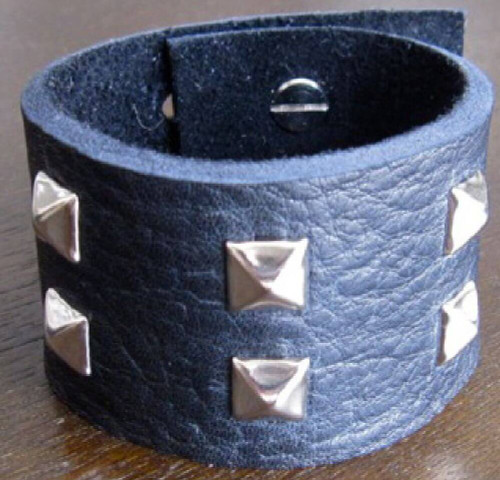 Rocker Rags Leather Cuff - Rocker Rags Black Leather Bracelet with Square Metal Studs.