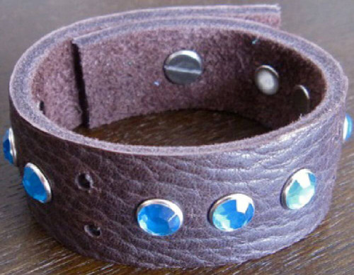 Rocker Rags Leather Bracelet - Rocker Rags Brown Leather Cuff with Blue Crystals.