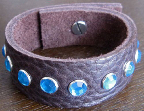 Rocker Rags Leather Bracelet - Rocker Rags Brown Leather Cuff. With Small Blue Crystals