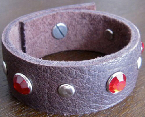 Rocker Rags Leather Bracelet - Rocker Rags Brown Leather Cuff. With Red Crystals and Round Metal Studs