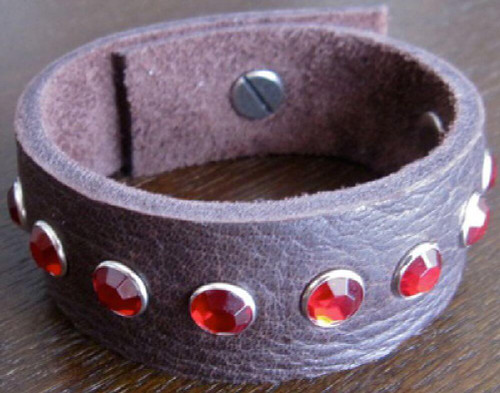 Rocker Rags Leather Bracelet - Rocker Rags Brown Leather Cuff with Red Crystals.