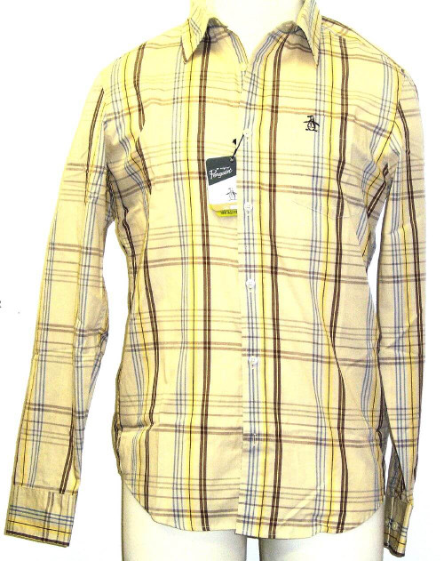 Original Penguin Men's Shirt - Original Penguin by Munsingwear Firecracker Men's Shirt | Beige Plaid Button Up
