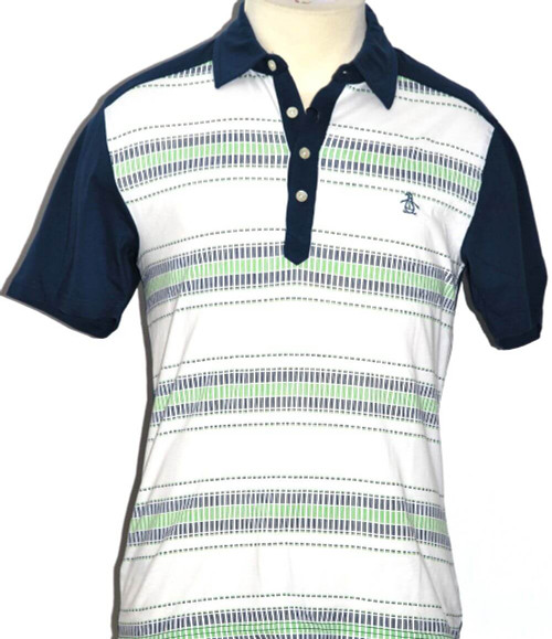 Original Penguin Men's Polo Shirt - Two by Four With White, Blue & Green Stripes. By Munsingwear.