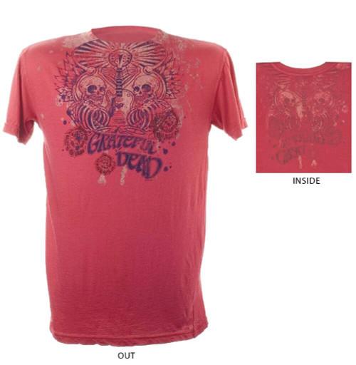 Grateful Dead T-shirt - Skeleton Guitar Logo Men's Reversible.