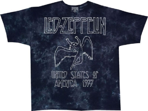 Led Zeppelin United States of America 1977 Tour Men's Black Tie-Dye Concert T-shirt