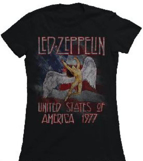 Led Zeppelin United States of America 1977 Tour Women's Vintage Black Concert T-shirt