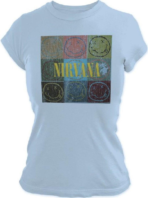 Nirvana Smiley Face Logo Vintage T-shirt - Faces in Stacked Boxes | Women's Light Blue