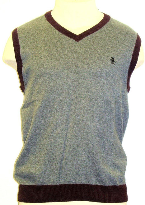 Original Penguin - Gray Sweater Vest w/ Maroon Red Piping Back Up Plan | Men's