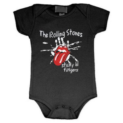 Rolling Stones Infant Bodysuit - Sticky Lil Fingers Tongue Logo Baby Diaper Shirt. Black