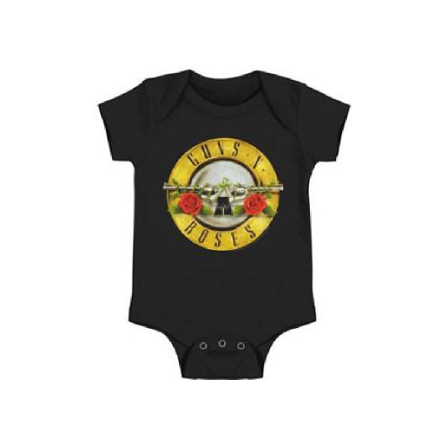 Guns N Roses Dueling Pistols with Flowers Logo Baby Onesie Infant Romper Suit in Black
