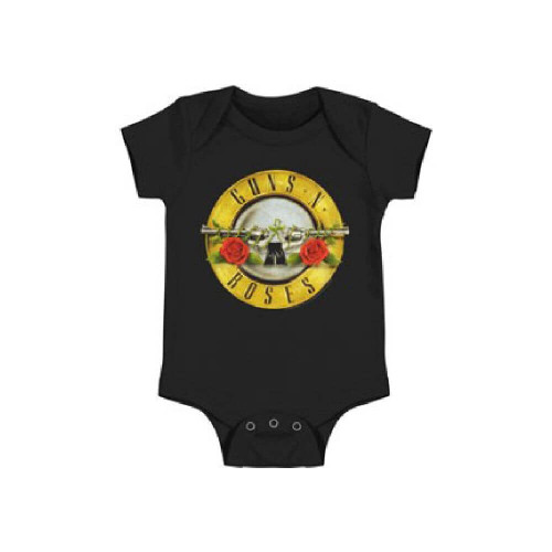 Guns N Roses Dueling Pistols with Flowers Logo Baby Onesie Infant Romper Suit in Black