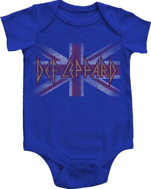 Def Leppard Infant Bodysuit - Union Jack British Flag Vintage Logo Baby Diaper Shirt | Blue