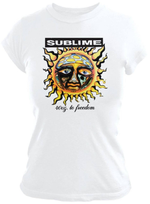 Sublime 40 Oz. To Freedom Debut Album Cover Artwork Women's White T-shirt