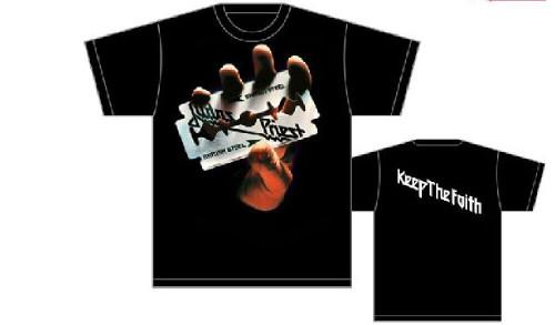 Judas Priest T-shirt - British Steel Album Cover Art Keep the Faith. Men's Black Shirt