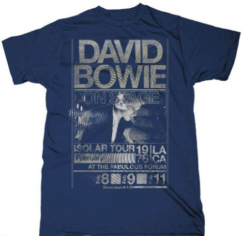 David Bowie Isolar Tour Los Angeles' Forum Performances February 1976 Men's Vintage Blue Concert T-shirt