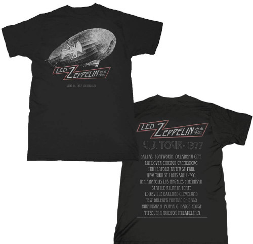 Led Zeppelin 1977 United States of America Tour Los Angeles June 21, 1977 Concert Men's Black T-shirt