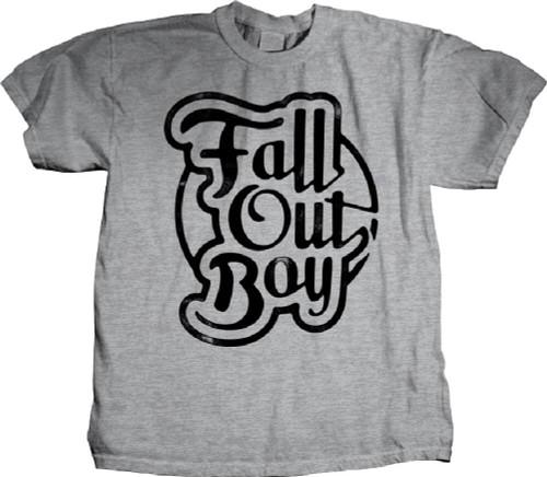 Fall Out Boy T-shirt - Logo in Script. Men's Gray Shirt