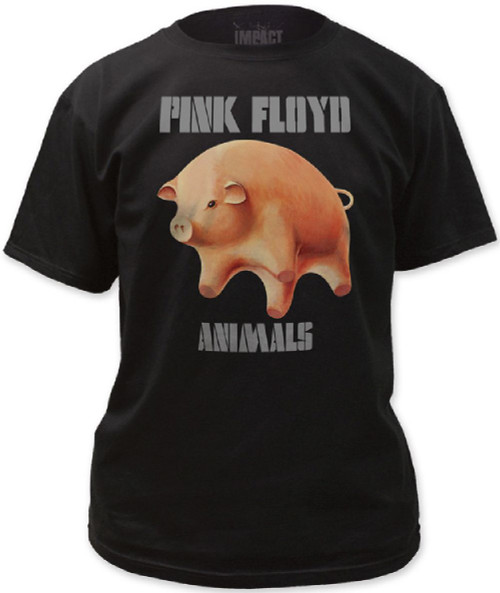 Pink Floyd Animals T-shirt - Flying Pig and Logo from Album Cover Artwork. Men's Black Shirt