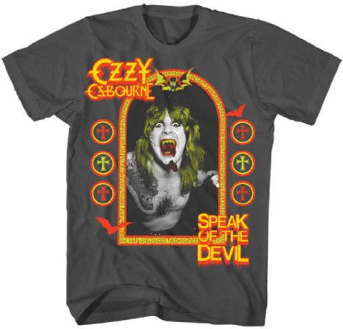 Ozzy Osbourne Speak of the Devil Album Cover Artwork Men's Gray T-shirt