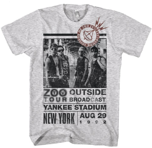 U2 Zoo TV Tour Concert T-Shirt - Yankee Stadium August 29, 1992. Men's White