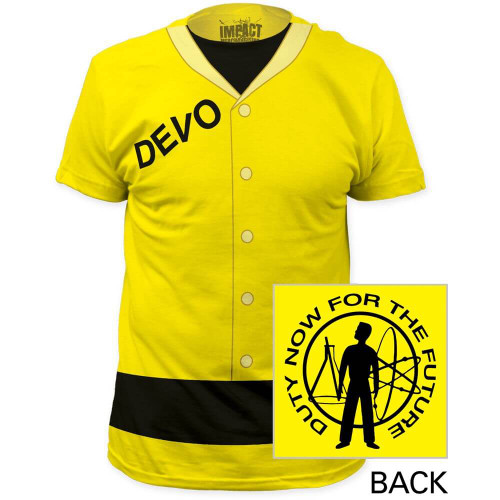 Devo Costume T-shirt - Radiation Suit with Duty Now for the Future Album Cover Art. Men's Yellow