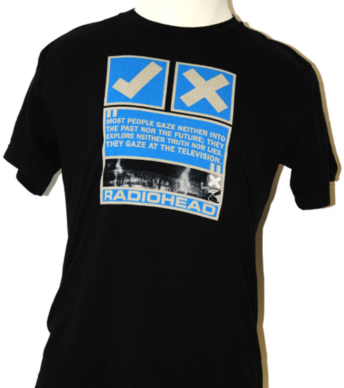 Radiohead T-shirt - Check and X Marks with Quotes Men's Black Shirt