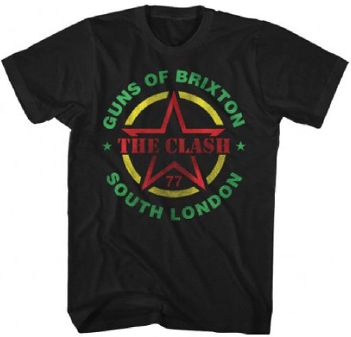 Clash Vintage Concert T-shirt - Guns of Brixton South London 1977 Show | Men's Black Shirt