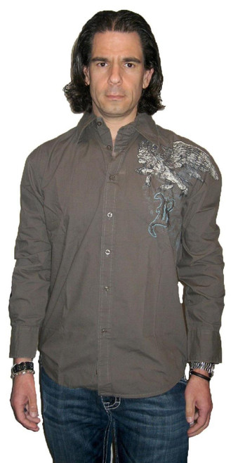 Roar Clothing Men's Honor Griffin Military Green Button Up with Graphics Long Sleeve Shirt - Front