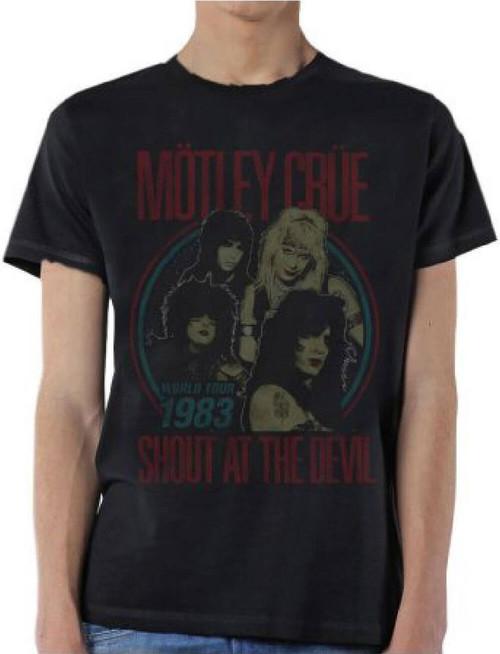 Motley Crue Shout at the Devil World Tour 1983 Men's Black Vintage Concert T-shirt