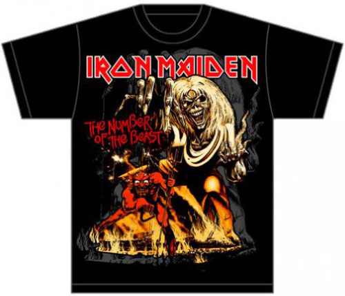 Iron Maiden The Number of the Beast Album Cover Artwork Men's Black T-shirt