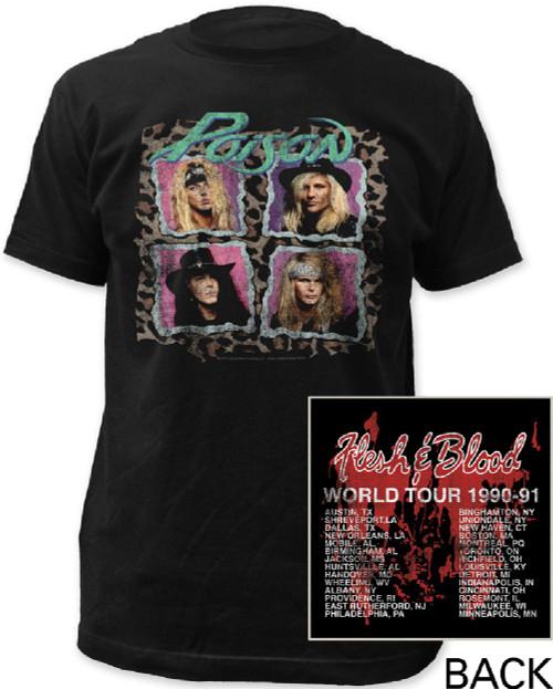 Poison Rock Band Vintage Concert T-shirt - Flesh and Blood World Tour 1990-91 | Men's Black
