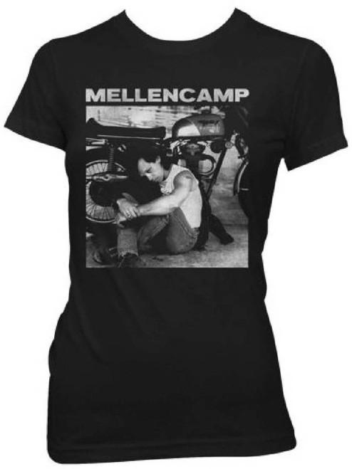 John Mellencamp Women's Vintage T-shirt - Motorcycle Classic Photo. Black