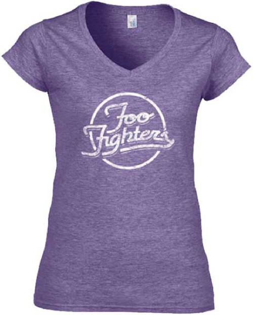Foo Fighters Logo T-shirt - Women's Purple Vintage V-Neck Shirt